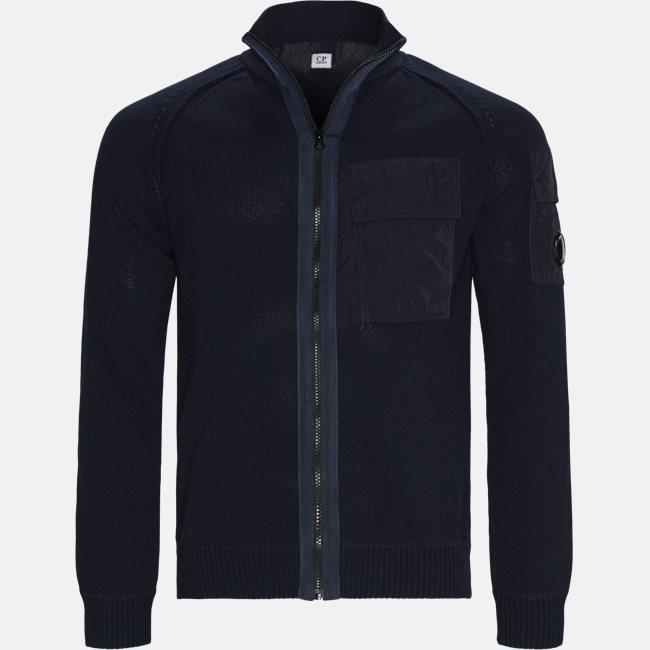 Cotton Mixed Contrast Pockets Zip Sweater