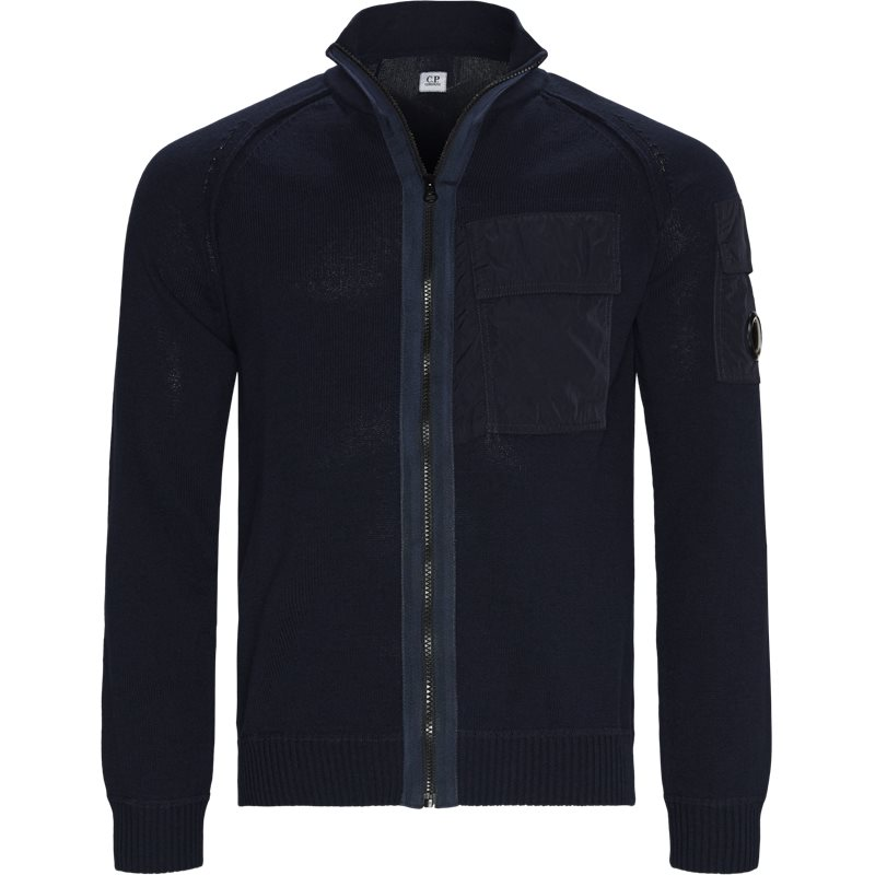 Image of   C.P. Company Cotton Mixed Contrast Pockets Zip Sweater Navy