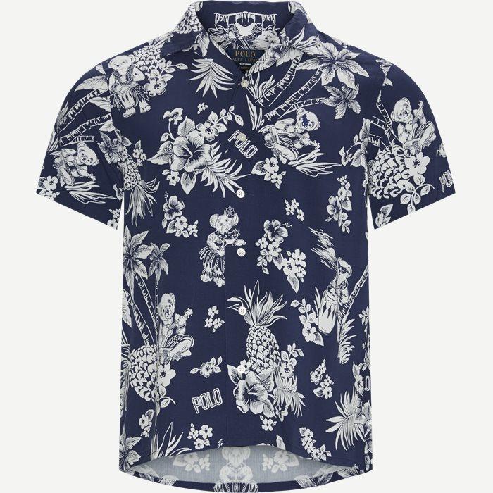 Tropical Bear Shirt - Kortærmede skjorter - Custom fit - Blå