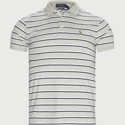 Striped Jersey Polo T-shirt Slim fit | Striped Jersey Polo T-shirt | Grå