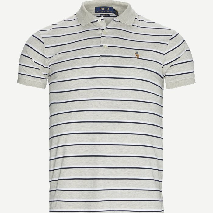 Striped Jersey Polo T-shirt - T-shirts - Slim - Grå
