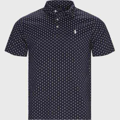Print Cotton Polo T-shirt Slim | Print Cotton Polo T-shirt | Blå