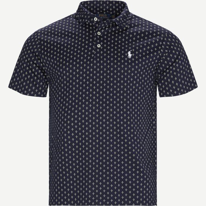 Print Cotton Polo T-shirt - T-shirts - Slim - Blå