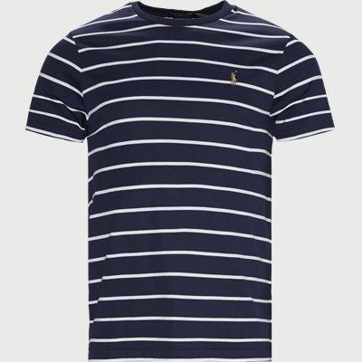 Striped Cotton T-shirt Regular slim fit | Striped Cotton T-shirt | Blå