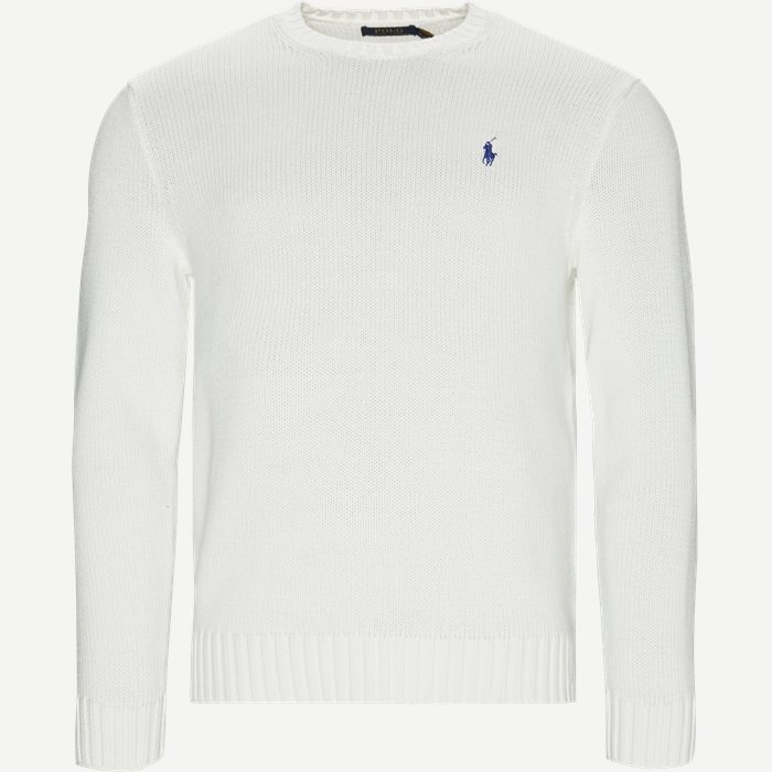 Cotton Crew Neck Jumper - Strik - Regular - Hvid