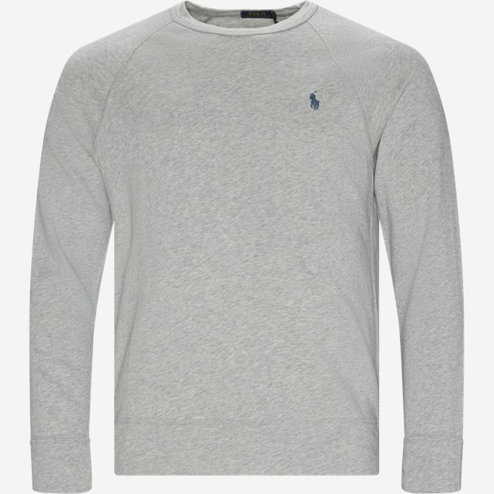 Cotton Crew Neck Sweatshirt - Sweatshirts - Regular - Grå