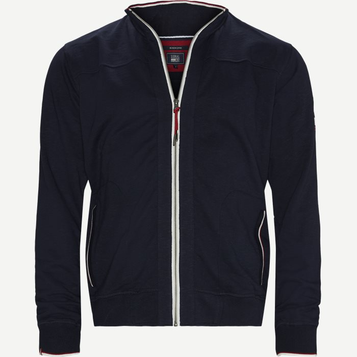 Egmont Zip Slub Sweatshirt - Sweatshirts - Regular - Blå