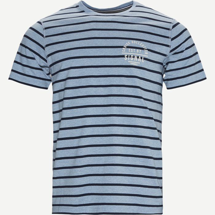 Benn CP Stripe Tee - T-shirts - Regular - Denim