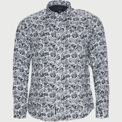 Andy Linen Print Shirt Regular | Andy Linen Print Shirt | Blå