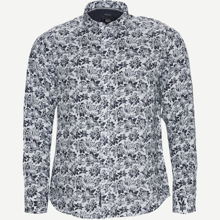 Andy Linen Print Shirt - Skjorter - Regular - Blå