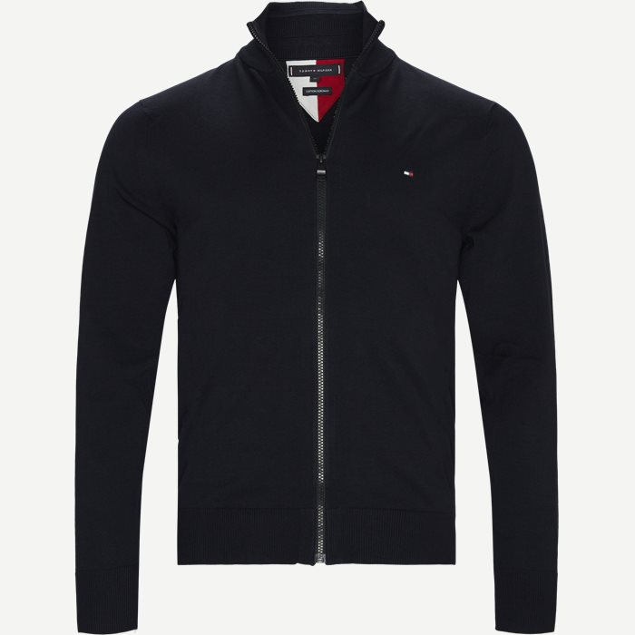 Flex Zip Through Cardigan - Strik - Regular - Blå