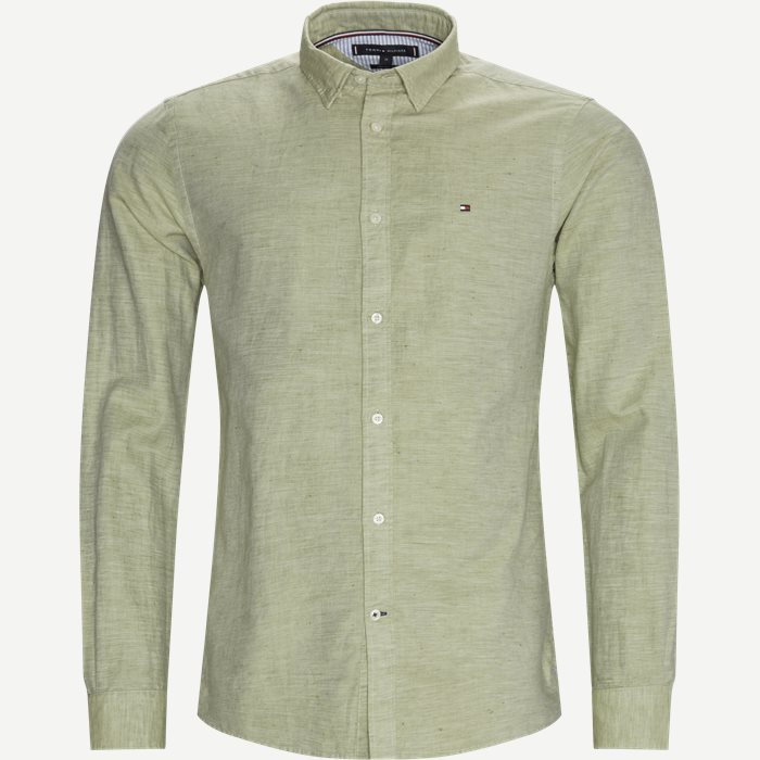 Cotton Linen Twill Shirt - Skjorter - Regular - Grøn