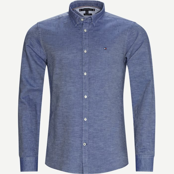 Cotton Linen Twill Shirt - Skjorter - Regular - Blå