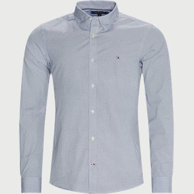Soft Geo Print Skjorte Slim | Soft Geo Print Skjorte | Blå