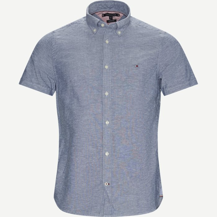 Cotton Linen Shirt - Kortærmede skjorter - Slim - Blå
