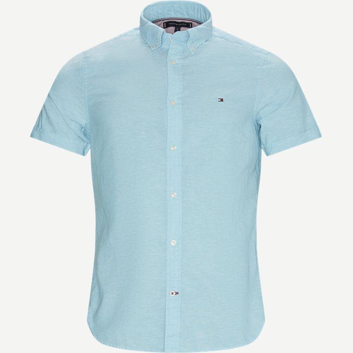 Cotton Linen Shirt - Kortærmede skjorter - Slim - Turkis
