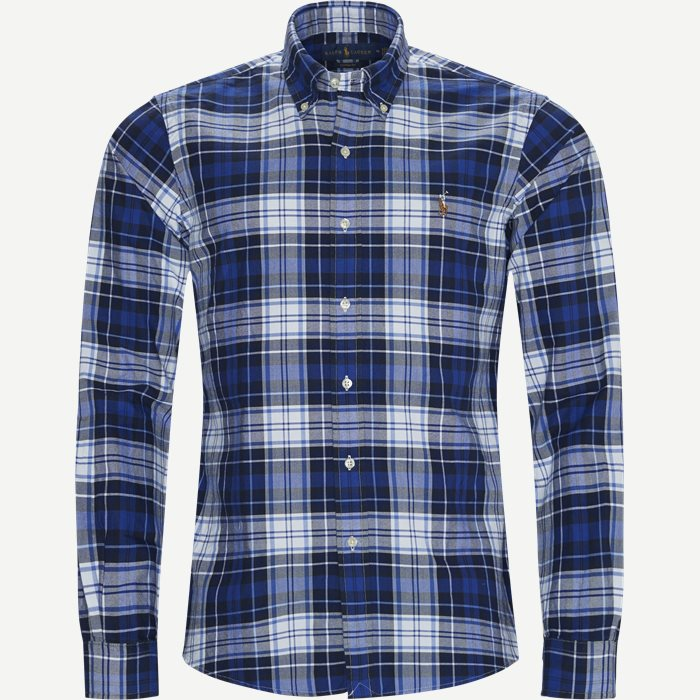 Checked Button-Down Shirt - Skjorter - Custom fit - Blå