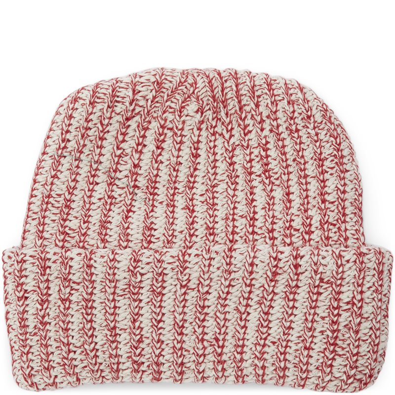 Image of   Bricks & Wood Knit Beanie Rød/hvid/mel