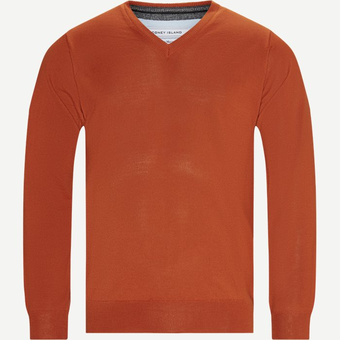 Salina Merino V-hals Striktrøje - Strik - Regular - Orange