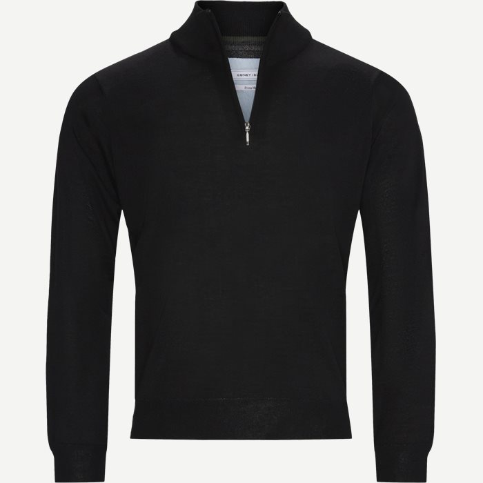 Panerea Half-Zip Striktrøje - Stickat - Regular - Svart