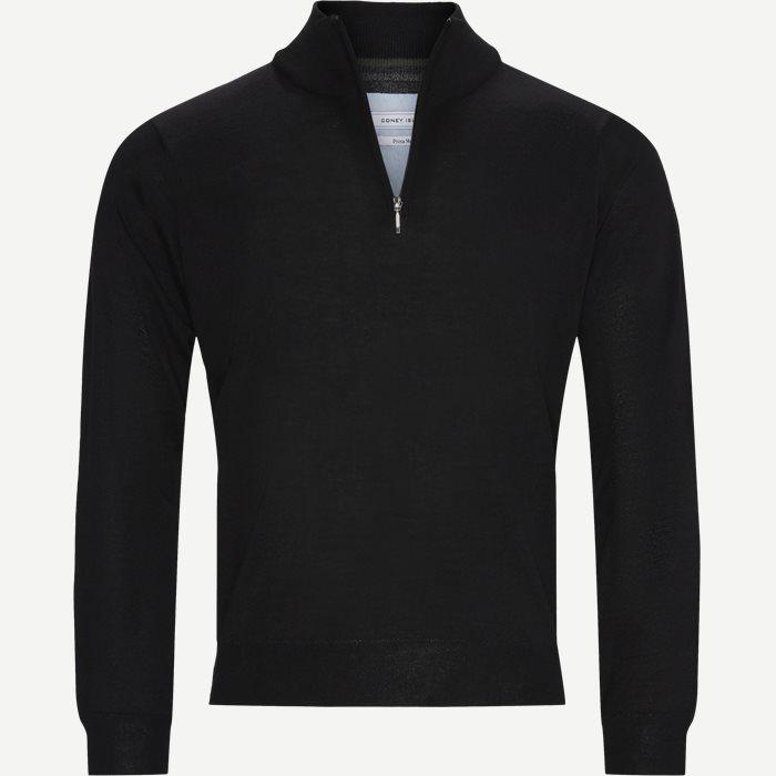 Panerea Half-Zip Striktrøje - Knitwear - Regular - Black