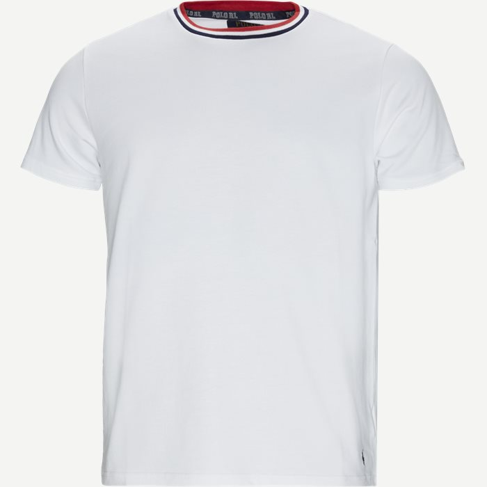 Neck Stripe T-shirt - T-shirts - Regular - Hvid