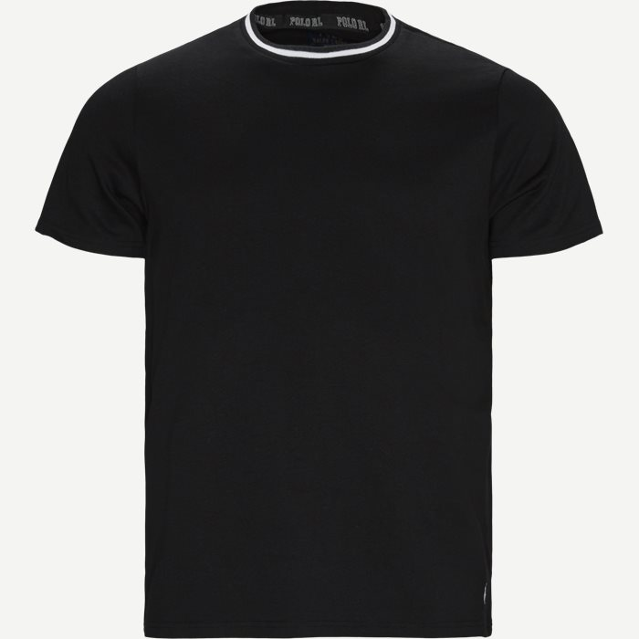 Neck Stripe T-shirt - T-shirts - Regular - Sort