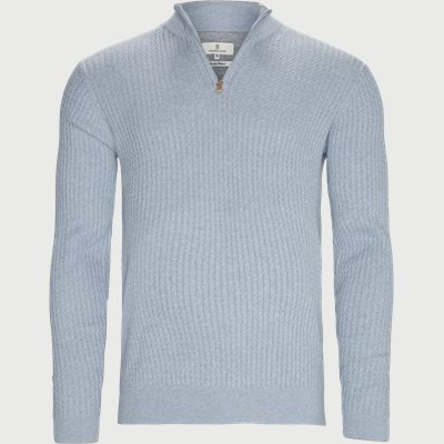 Half Zip Mini Cable Knit Regular | Half Zip Mini Cable Knit | Blå