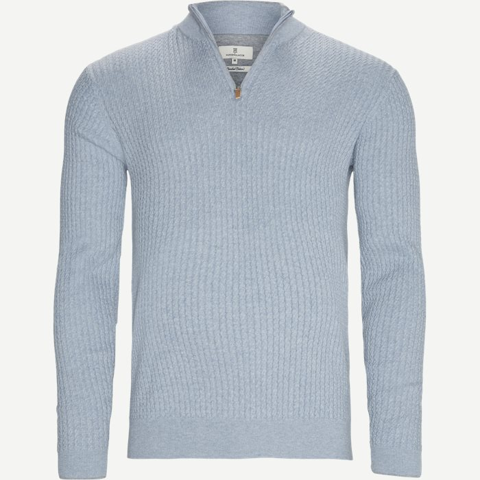 Half-zip stickat - Regular - Blå