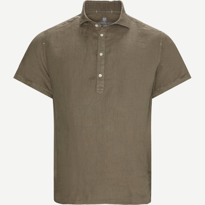 Short Sleeve Linen Shirt - Kortærmede skjorter - Regular - Sand