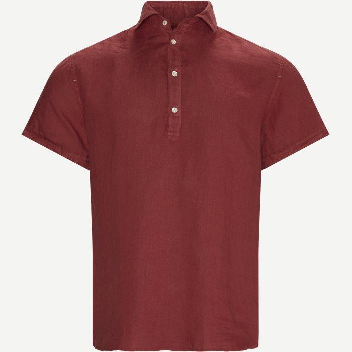 Short Sleeve Linen Shirt - Kortærmede skjorter - Regular - Rød