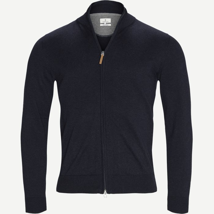 Full Zip Flat Knit Cardigan - Cardigans - Regular - Blå