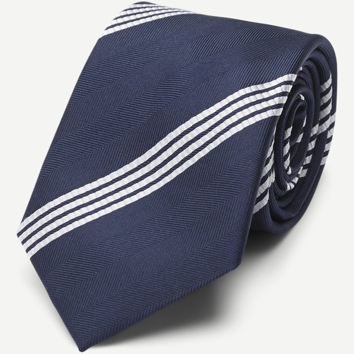 Classic Navy Striped Silk Slips - Slips - Blå