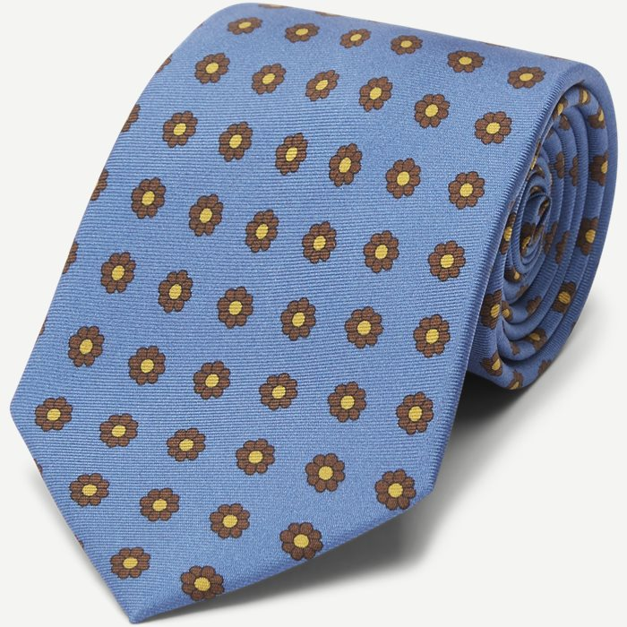 Light Blue Flower Silk Tie - Slips - Blå