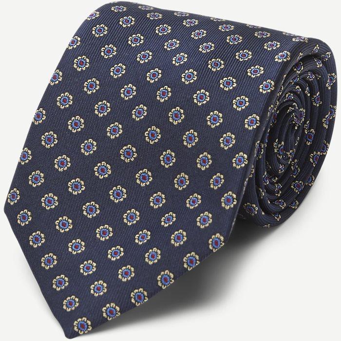 Navy Woven Flower Silk Tie - Slips - Blå