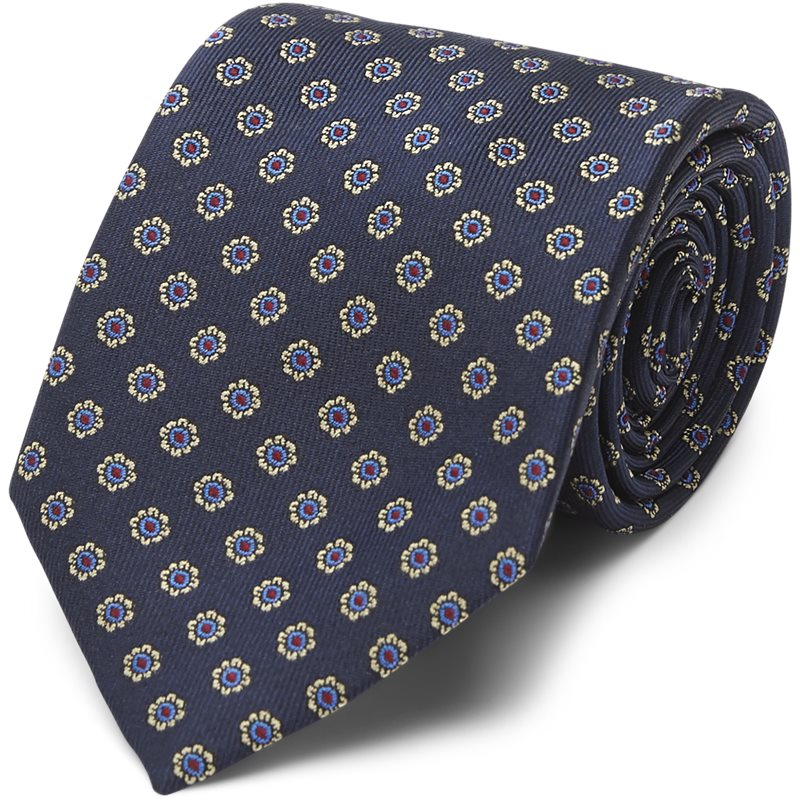 Image of An Ivy - NAVY WOVEN FLOWER SILK TIE Slips