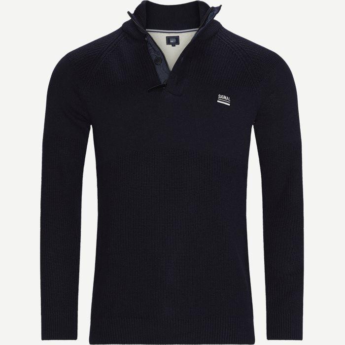 Stan Half-Zip Sweater  - Knitwear - Regular - Blue