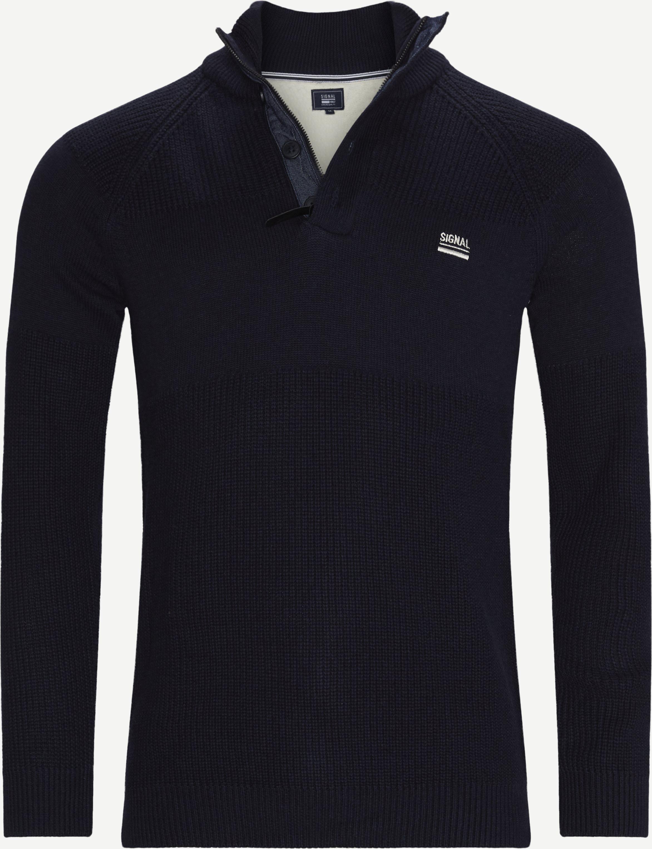 Stan Half-Zip Sweater  - Stickat - Regular - Blå