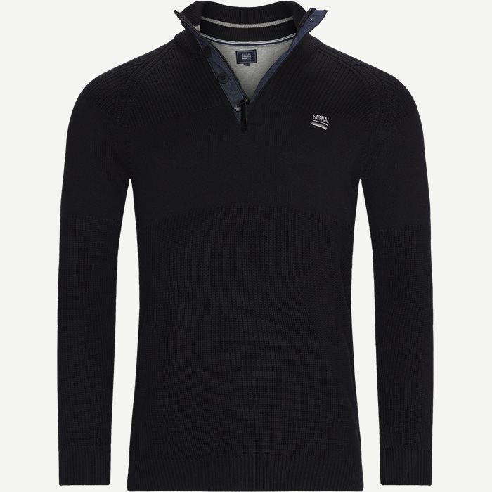 Stan Half-Zip Sweater  - Knitwear - Regular - Black