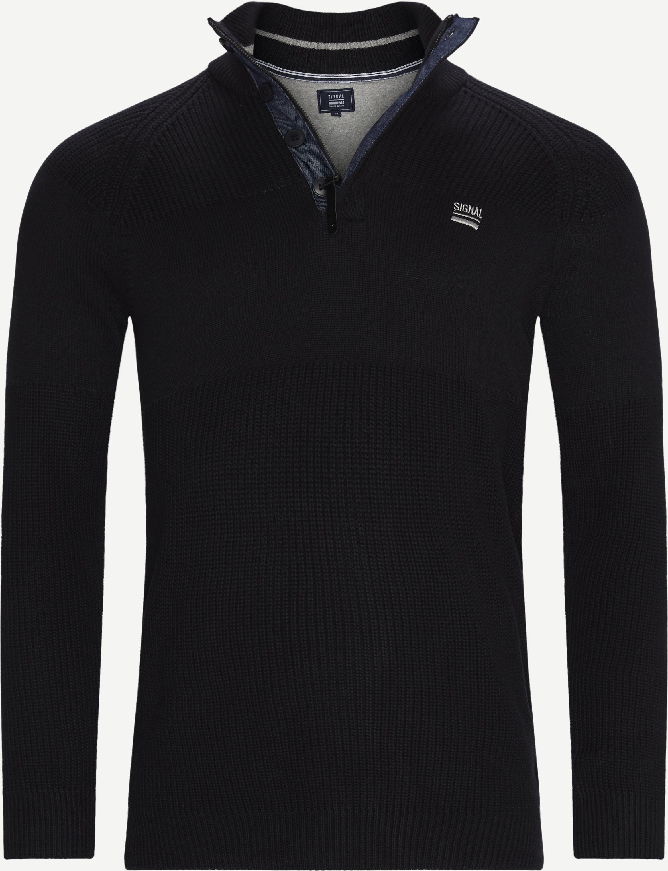 Stan Half-Zip Sweater  - Stickat - Regular - Svart