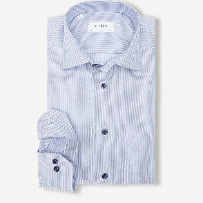 3169 Textured Twill Skjorte - Skjorter - Blå