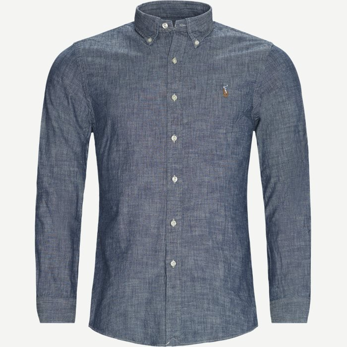 Button-Down Cotton Shirt - Skjorter - Slim - Denim