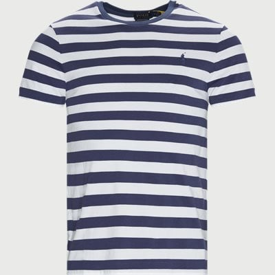Striped Cotton T-shirt Regular slim fit | Striped Cotton T-shirt | Blå