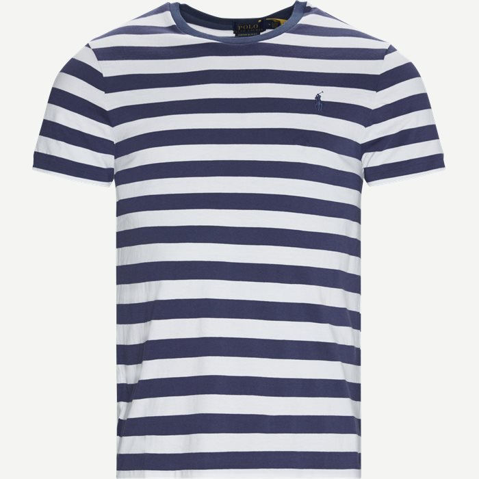 Striped Cotton T-shirt - T-shirts - Regular slim fit - Blå