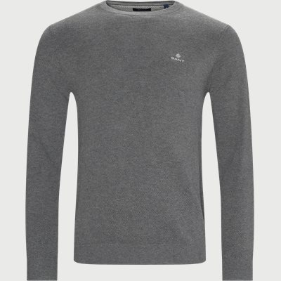 Cotton Pique Crew Neck Knit Regular | Cotton Pique Crew Neck Knit | Grå