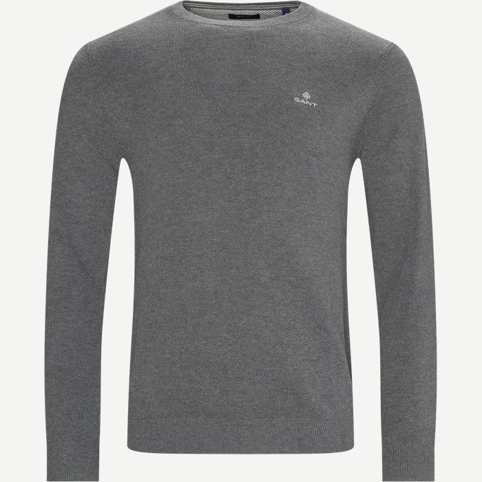 Cotton Pique Crew Neck Knit - Strik - Regular - Grå