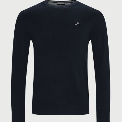 Cotton Pique Crew Neck Knit Regular | Cotton Pique Crew Neck Knit | Blå