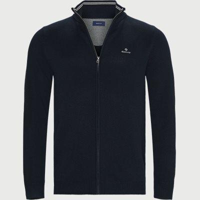 Cotton Pique Zip Cardigan Regular | Cotton Pique Zip Cardigan | Blå
