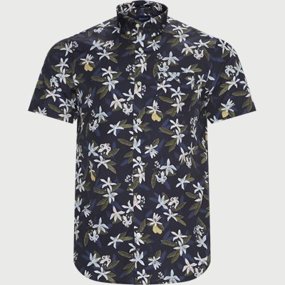 Lemon Flower Print Shirt Regular | Lemon Flower Print Shirt | Blå