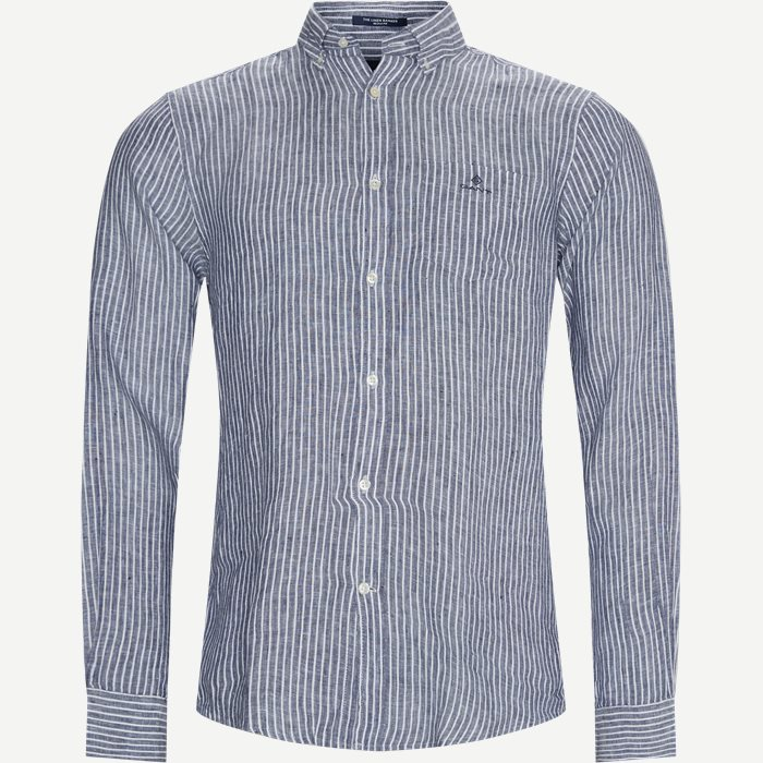 The Linen Stripe Shirt - Skjorter - Regular - Blå